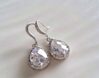 Statement Bridal Earrings, CZ Bridal Earrings, Bridal Jewelry, Wedding Jewelry, Drop bridal earrings