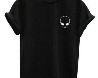 Alien Logo T Shirt, Alien Pocket Logo Shirt, Alien Logo T Shirt, Hipster T Shirt, Alien T Shirt, Alien Tee, Indie Top