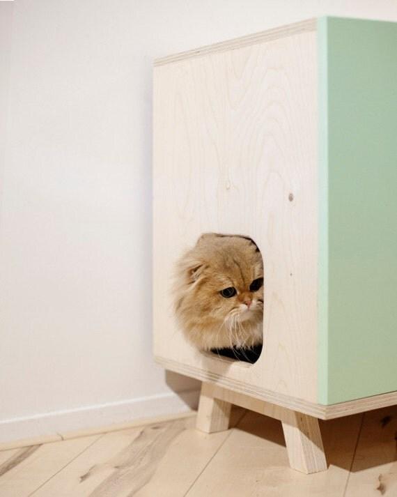 articles similaires meubles de chat moderne pour bac liti re sur etsy. Black Bedroom Furniture Sets. Home Design Ideas