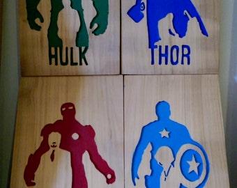 Retro Captain America, Hulk, Ironman, Thor hand carved art work