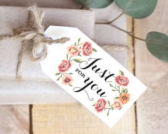 INSTANT Download, Printable Gift Tags, Wedding Favor Tags, Just for You, PDF, DIY