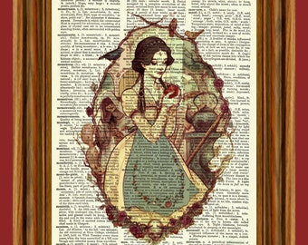 Snow White Upcycled Dictionary Art Print Poster