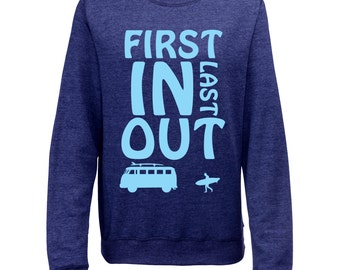 First In Last Out Womens Printed British Summer Surf Sweatshirt Jumper