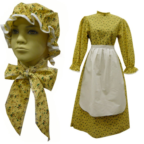 Prairie Dress Girl Child Book Report Costume Calico Print (Includes Dress, Apron & Hat) 1223