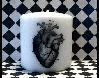 Heart Small Pillar Candle Goth Anatomical Anatomy