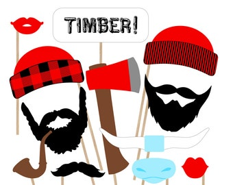 Lumberjack Printable Photo Booth Props - Lumberjack Photobooth Props - Rustic Photo Props - Paul Bunyan - Lumberjack Party Printable
