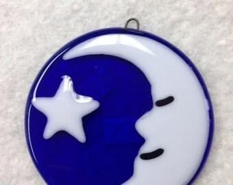 "Man and Moon Fused Glass Ornament 3.5"" Diameter"
