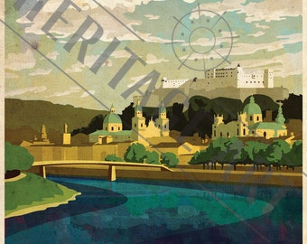 Salzburg- Vintage Travel Poster