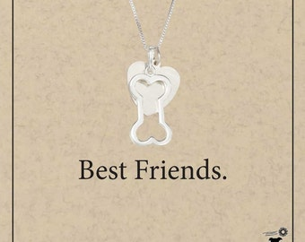 Sterling Silver Dog Bone Pendant Necklace with Heart Charm