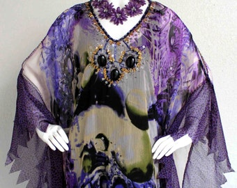 Exotic,Sensuous,Bejeweled,Artsy and Romantic Plus size Kaftan Dress, Party, Travel, Dancing.