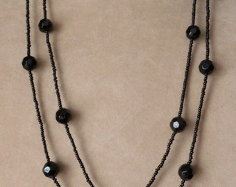 Long Onyx Black Beaded Overhead Necklace