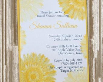 Sunflower Bridal Shower Invitation Set of 20--CUSTOM PRINTED--Includes Envelopes (2.50 each)