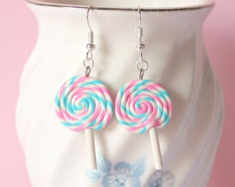 Pink and Teal Swirl Lollipop Polymer Clay Silver Earrings