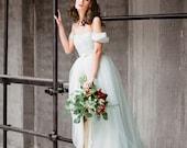 Arsenia // Off the shoulder wedding dress - wedding gown - bohemian wedding dress - romantic tulle lowback wedding dress - grey tulle dress