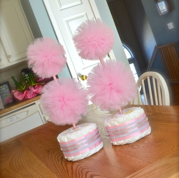 Unique Baby Shower Centerpieces Or Decorations Tulle Pompom