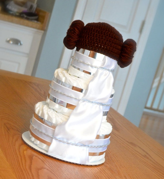 star wars baby shower princess leia diaper cake centerpiece