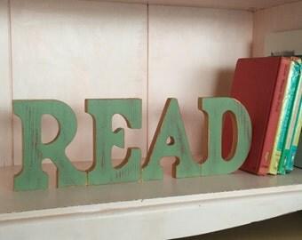 Gender Neutral Nursery ~ Eclectic Nursery ~ Motivational Words ~ Gender Neutral Playroom Decor ~ Gift for Reader ~ Wooden Words Letters Read