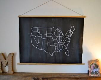 Large Chalkboard United States Map Wall Decor