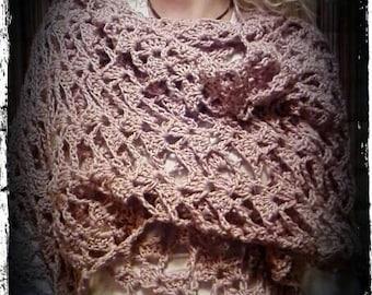 Crochet romantic lacy shawl .