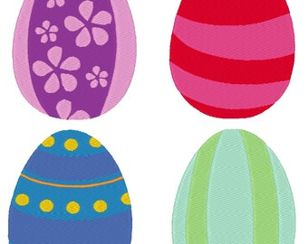 Easter 4 Eggs Embroidery Set - Instant Download