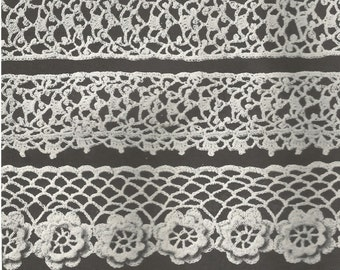 Vintage Irish Crochet Edgings Selection Crochet PDF Pattern