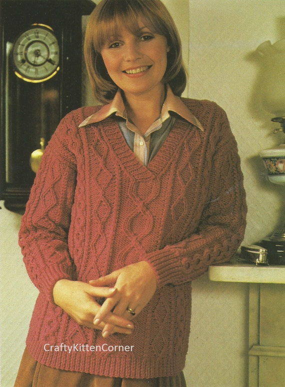 Knitting Pattern Ladies V Neck Jumper : Vintage Ladies V Neck Aran Sweater Knitting Pattern