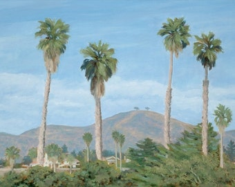 Beach greeting card, Two Tree's Thru the Palms, from original oil painting byTina O'Brien