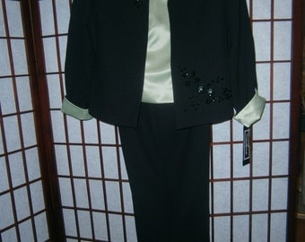 Women's 3 Piece Pantsuit- Black and Mint Green with Sequined Trim-Late 80's