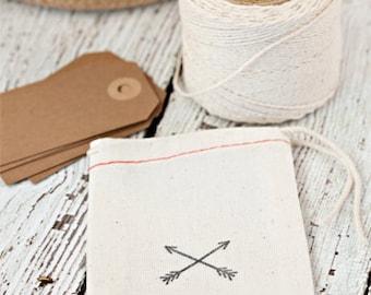 Hand stamped muslin bags, arrow muslin bags, favor bags, drawstring gift bags, arrows, gift bags