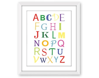 Alphabet Typography Print, Kids Art, 5x7, 8x10, 11x14, 13x19, Childrens Art, Nursery Decor, Playroom Art, School Art, Letters, Colors