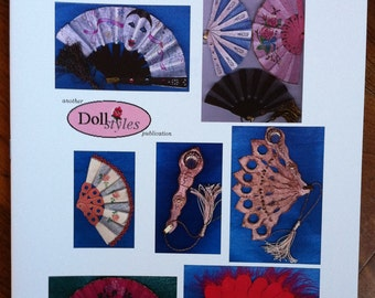 Mamzelle's Fans - instructional book on making doll fans, miniture fans, for doll costuming, patterns and designs, 12 pages