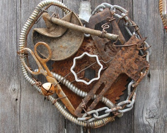 Metal Heart Art Made from Reclaimed Materials