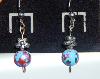 Blue and pink speckled bead with silver metal flower bead french hoop earrings