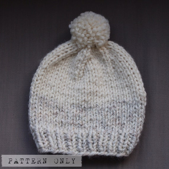 Items similar to KNIT PATTERN/ Two Tone Slouchy Hat Chunky Beanie Wool Touque...