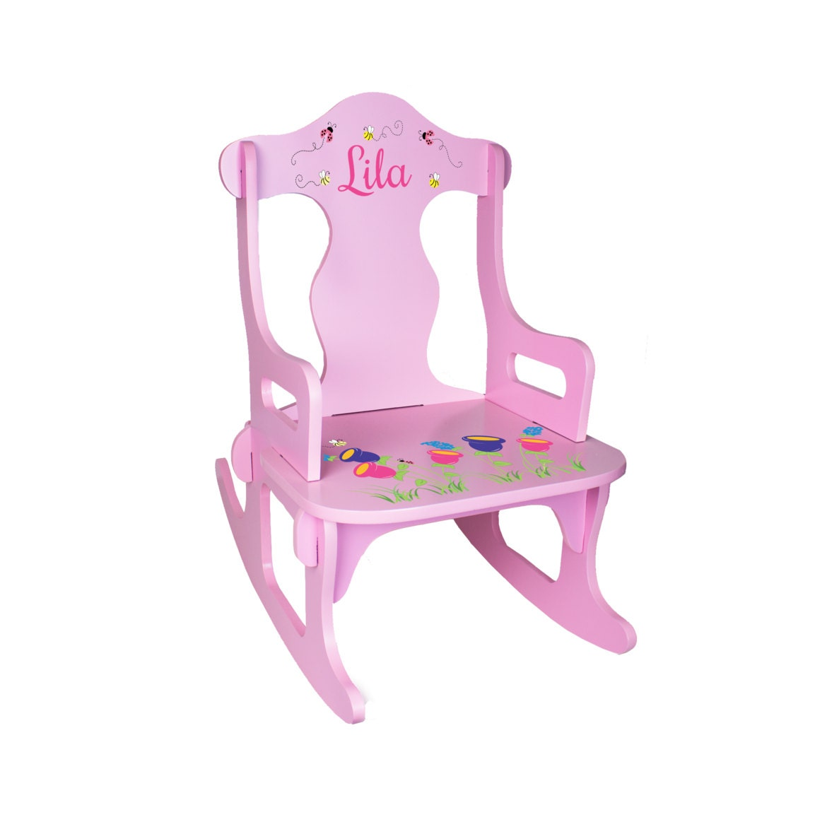 Personalized Kids Rocking Chair Custom Pink by WizkickGifts
