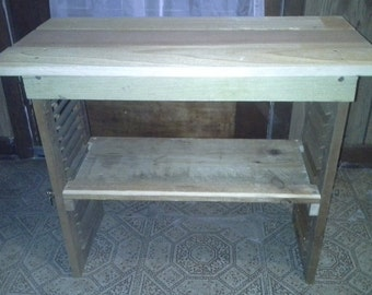 Vintage two shutter Handmade Chair Side Table, Entryway Table, End Table, working blinds, 24x24x11
