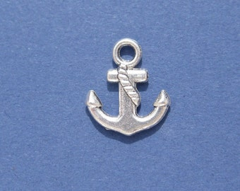 5 pieces - Anchor Charm - Anchor Pendant - Antique Silver - 17mm x 15mm -- (A1-10064)