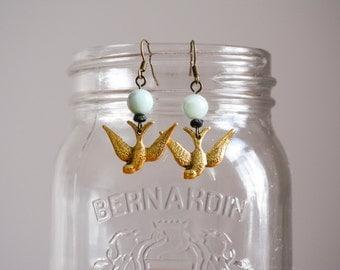 Golden bird earrings