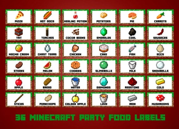 Geeky image with free printable minecraft food labels