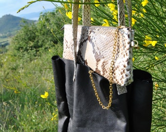 Reversible shopping bag hammered leather and Python profiles-shopper bag leather and python