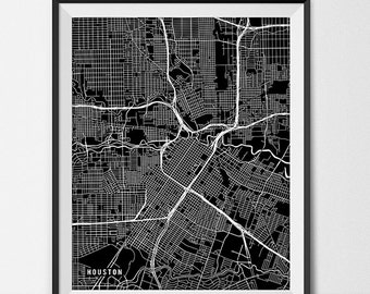 Houston Map Print, Houston Poster of Texas Map of Houston Print Gift Houston Texas Art TX University Art Poster College Dorm Room Art