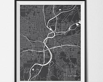 Dayton Map Art Print, Dayton City Map of Dayton Art Poster of Ohio State Map University of Dayton Art Grad Gift Dorm Art