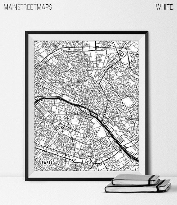 items similar to paris france map art print paris map art paris city map of paris art paris. Black Bedroom Furniture Sets. Home Design Ideas
