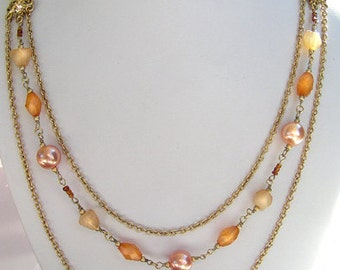 1928 Jewelry Beaded Peach Color Layered Long Necklace