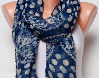 Blue scarf polka dot scarf mothers day gift Ideas fashion scarves Holiday cotton scarf shawl lace scarf womens scarves fashion accessories