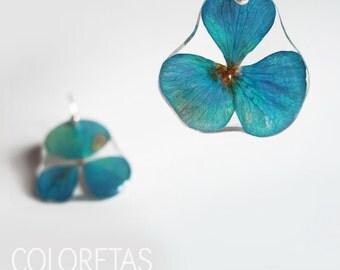 Hydrangea flowers earrings