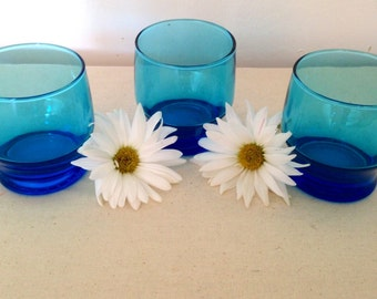 Set of 3 VINTAGE Bright Blue CANDLE HOLDERS