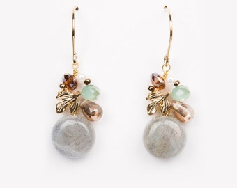 Drop earring Hannah grey labradorite cute