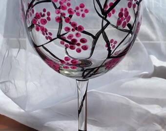 Cherry Blossom Wine Glass - Sold as a Pair