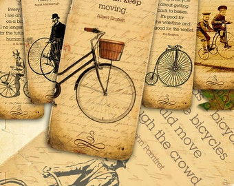 Bicycle quotes Bookmarks - 12 bike vintage digital printable collage sheet instant download - Retro Box Collection